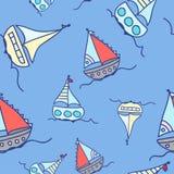 Rode boten in het overzees stock illustratie