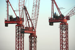 Rode bouwkranen tegen blauwe hemel Royalty-vrije Stock Fotografie
