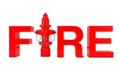 Rode Brandkraan als Brandteken het 3d teruggeven Royalty-vrije Illustratie