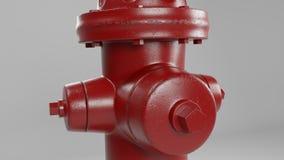 Rode brandkraan die op wit met een paar versleten vlekken en roest 3d illustratie wordt ge?soleerd stock illustratie