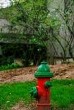 Rode brandkraan in stad het plaatsen Stock Foto