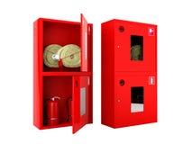 Rode brandslang en brandblusapparaatkabinetten op witte achtergrond Stock Afbeelding