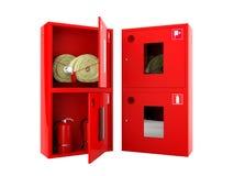 Rode brandslang en brandblusapparaatkabinetten op witte achtergrond Royalty-vrije Stock Foto