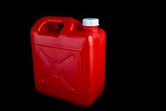 Rode Brandstofcontainer op een Zwarte Achtergrond Royalty-vrije Stock Afbeelding
