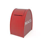 Rode brievenbus die op wit wordt geïsoleerdh Royalty-vrije Stock Foto