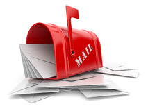 Rode brievenbus met hoop van brieven. 3D Stock Foto