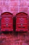 Rode brievenbussen Royalty-vrije Stock Foto's