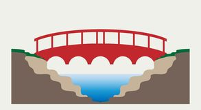 Rode brug met landschapsaard stock illustratie