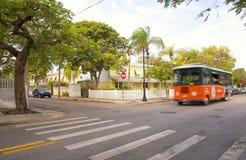 Rode bus, de Sleutels van Florida Stock Afbeeldingen