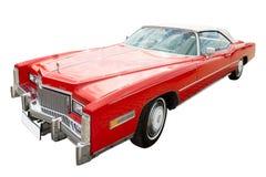 Rode cadillacauto, geïsoleerda cabriolet, Royalty-vrije Stock Foto