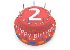 Rode cake met gelukkige verjaardag en de leeftijd vector illustratie