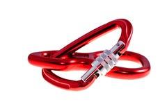 Rode carabiners stock afbeeldingen