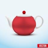 Rode ceramische theepot Vector illustratie Royalty-vrije Stock Foto's