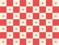 Rode Checker+flowers Stock Afbeelding
