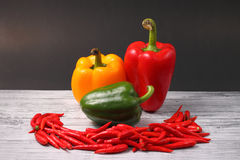 Rode chillis en paprika Royalty-vrije Stock Foto