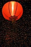 Rode Chinese Lantaarn bij Nacht Stock Afbeeldingen