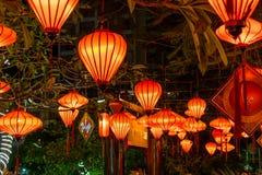 Rode Chinese lantaarns op bomen met groene tak in nacht stock foto's
