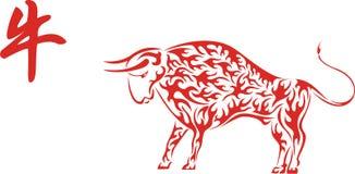 Rode Chinese os met hiëroglief stock illustratie