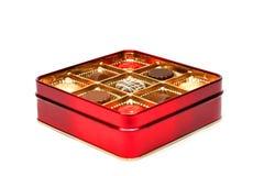 Rode chocoladedoos Royalty-vrije Stock Afbeeldingen