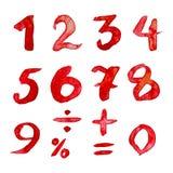Rode cijfers met waterverf Stock Afbeeldingen