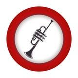 Rode cirkel met grijze trompet royalty-vrije illustratie