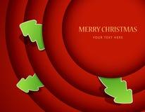 Rode cirkels met de kentekens van de Kerstmisboom Stock Foto