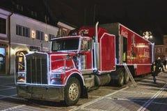 Rode Coca-Cola-vrachtwagen Stock Afbeelding