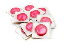 Rode condooms Stock Foto