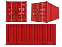 Rode Container in 3D Geïsoleerd op Wit Royalty-vrije Stock Afbeelding