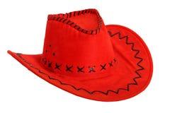 Rode cowboyhoed die op wit wordt geïsoleerde Stock Afbeeldingen