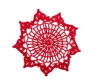Rode crochet doily stock afbeeldingen