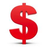 Rode 3d dollar met een schaduw Royalty-vrije Stock Foto