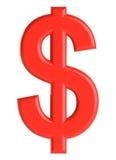 Rode 3d dollar met een schaduw 3D Illustratie Royalty-vrije Stock Foto's