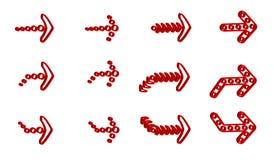 Rode 3D stijlpijlen stock illustratie