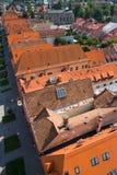 Rode daken in bardejov Stock Foto