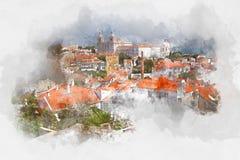 Rode daken in Lissabon, Portugal, waterverf Royalty-vrije Stock Fotografie