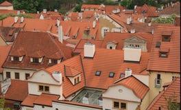Rode daken in Praag Stock Foto