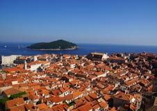 Rode Daken van Dubrovnik Stock Foto