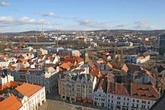 Rode daken van Plzen stock foto's
