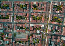 Rode daken van Sofia Bulgaria stock foto's
