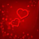 Rode de dagkaart van hartenvalentijnskaarten op rode achtergrond Royalty-vrije Stock Foto's