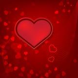 Rode de dagkaart van hartenvalentijnskaarten op rode achtergrond Royalty-vrije Stock Foto