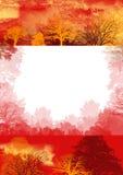 Rode de herfstachtergrond, bomen Royalty-vrije Stock Fotografie