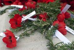 Rode de herinneringsdag van de papaver anzac dag Stock Foto's