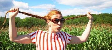 Rood haarmeisje met vlecht Royalty-vrije Stock Foto