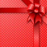 Rode de kaartnota van de giftboog Stock Foto's