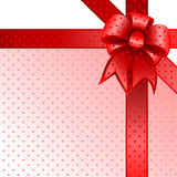 Rode de kaartnota van de giftboog   Stock Foto