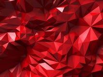 Rode de muurachtergrond van het driehoeks poligon chaotische patroon Stock Foto's