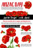 Rode de papaver vectoraffiche van Anzac Day Lest We Forget Royalty-vrije Stock Afbeelding
