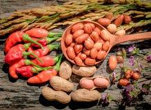 Rode de pinda Houten achtergrond van de Spaanse peper Gouden rijst Stock Afbeeldingen